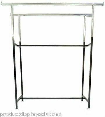 Commercial Grade Clothing Double Bar H Rack Adjustable Height 48-72 Black