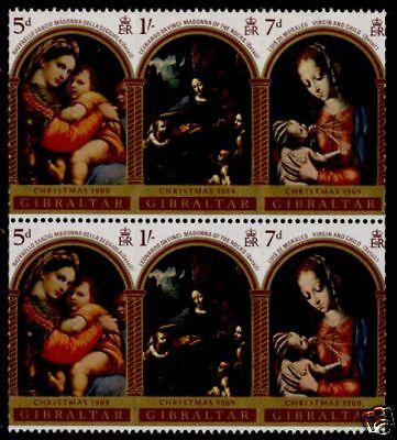 Gibraltar 232a Pair MNH Christmas, Art, Madonna & Child