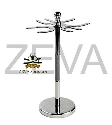 - Stainless Steel 4 Prong Safety Razor and Shaving Brush Stand