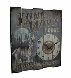 American Expedition Wall Clock Lone Wolf Lodge Wood Rustic Lodge Wildlife Cabin