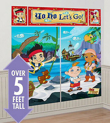 JAKE NEVERLAND PIRATES Scene Setter HAPPY BIRTHDAY party wall decoration kit 5'