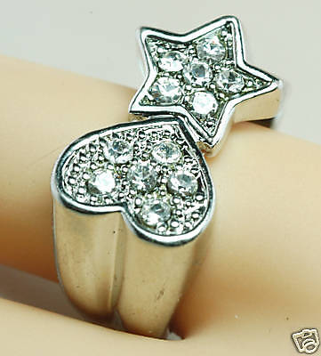 HUGE Pave Crystal HEART STAR Unusual COCKTAIL Ring 5.5