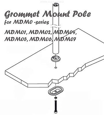 Grommet mount pole for MDM0 series - shows how the pole is bolted through the desk
