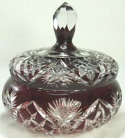 Vintage Cased Cut Crystal Ruby Lidded Candy Bowl