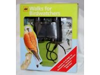 AA Walks for Birdwatchers - Gift set binoculars and book - new unopened