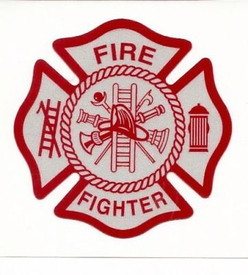 WHITE RED Reflective Vinyl Decal Fire Dept Maltese Cross Firefighter Sticker USA