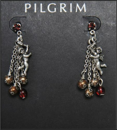 NEW PILGRIM DENMARK GOLD PLATED EARRINGS RED CRYSTALS DROP DANGLE CHAIN HANDMADE