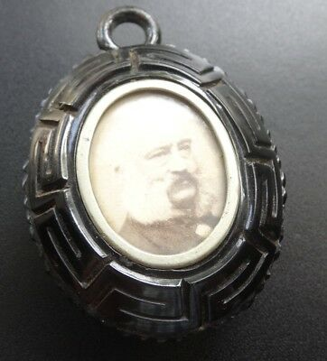 antique Victorian WHITBY JET carved locket back pendant for necklace -A100