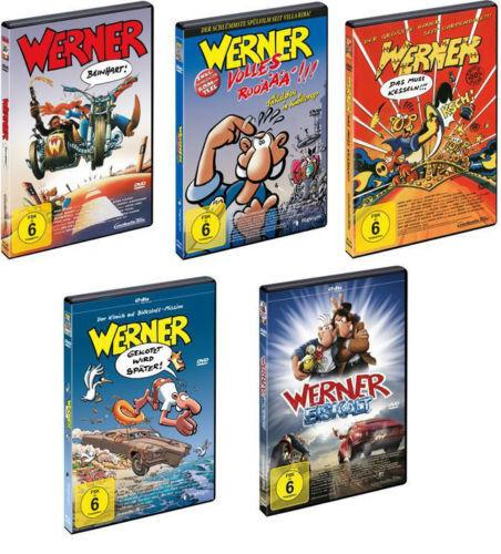 5 DVDs *  WERNER  -  SET MIT ALLEN 5 FILMEN   #   NEU OVP +