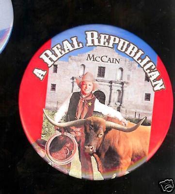 Real Republican John Mccain Pin Cowboy Western Bull