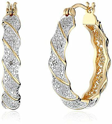 (NEW 18k Yellow Gold Plated Two Tone Diamond Accent Twisted Hoop Earrings)