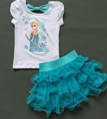 Mädchen Frozen Elsa Perlen Tüll Kleid Kostüm Cosplay Party Dress Eiskönigin 2-8Y (Frozen Kleid Kostüm)