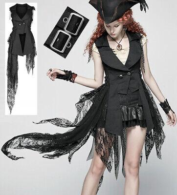 Asymmetrisch Weste Jacke Kleid Gothic Lolita Steampunk Pirat Spitze PunkRave