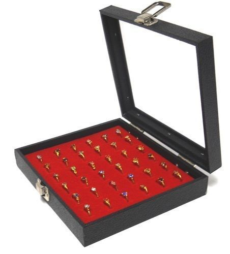 1 Wholesale Glass Top Lid Red 36 Ring Display Portable Sales Storage Box Case