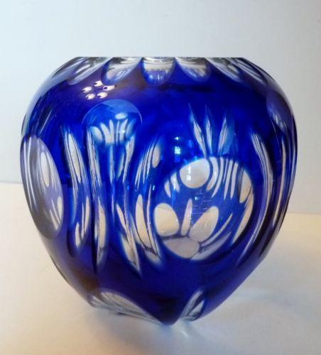 Blue Overlay Cut Glass Bud Vase