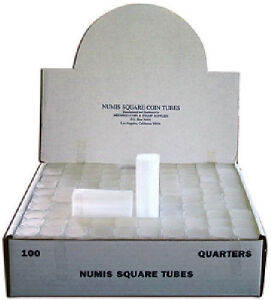 Numis Brand - Quarter Square Coin Tubes Storage (5 pack)