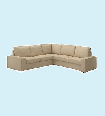 "IKEA Kivik""2 Seat""& Corner Sofa Section""2+2""Sectional,4 Seat""Cover Isunda Beige"