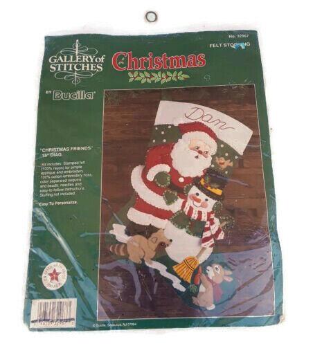 Felt Santa Christmas Stocking Kit Bucilla Gallery of Stitches Christmas Friends