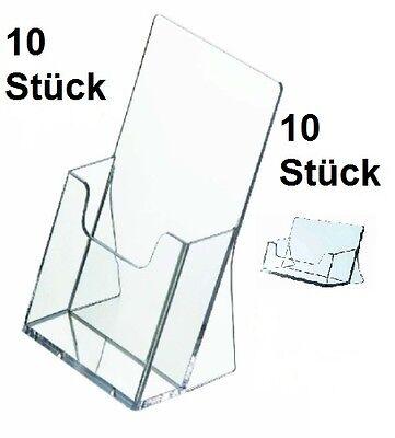 10x Prospekt-Flyer Ständer Din Lang (1/3Din A4)+ 10 Visitenkartenständer Werbung