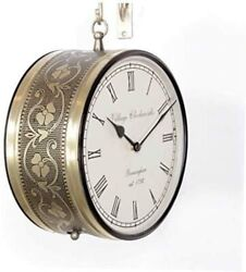 Antique Round Hanging Wall Mount Decor Double Side Wall Clock Brass Finish 8'