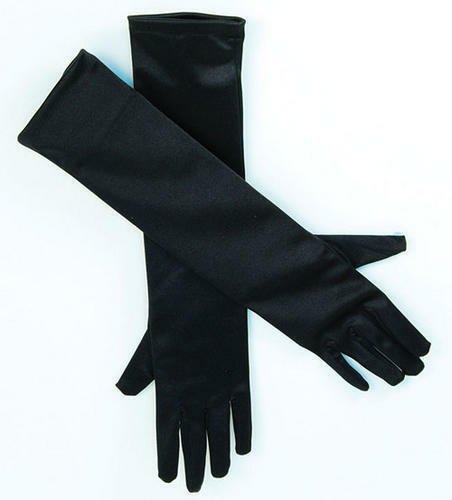 "Black Satin Gloves 19"" Halloween Cat Fancy Dress"