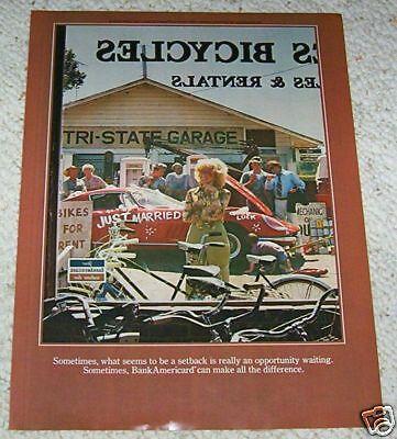 1976 vintage ad - BankAmericard charge credit card -bicycle store PRINT AD