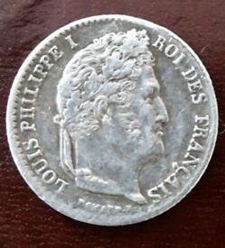1/4 Franc 1842 Silver Coin