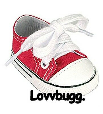 "Lovvbugg Red Tennis Sneakers for 18"" American Girl or Boy or Bitty Baby Doll Shoes"