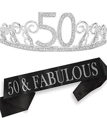50th Birthday Gifts for Women 50th Birthday Tiara and Sash Happy 50th Birthda...