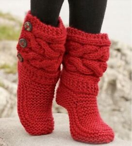SLIPPER  CABLE BOOTS COSY   KNITTING PATTERN ONLY