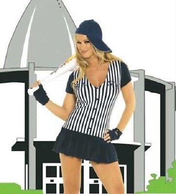 BASEBALL PLAYER Uniform Stripe Mini Dress Gloves Cap Hat Inflatable Blow-up - Baseball Mini Kostüm