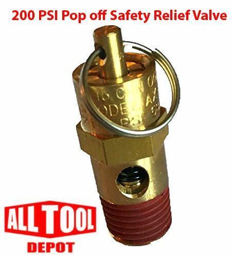 "New 1/4"" NPT 200 PSI Air Compressor Relief Pressure Safety Valve, Tank Pop Off"