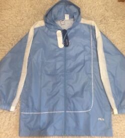 Fila Waterproof Blue Jacket Sport Tracksuit Lightweight Hood Retro Size L