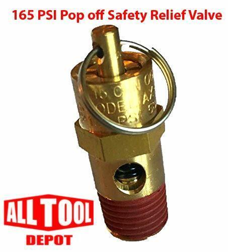 "New 1/4"" NPT 165 PSI Air Compressor Relief Pressure Safety Valve, Tank Pop Off"