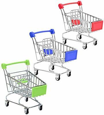 3 Pcs Metal Mini Shopping Cart Toy Tiny Ulitily Trolley Toy Redbluegreen