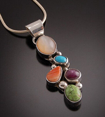 5 Multistone Pendant By Begay Moonstone Star Ruby, Turquo...