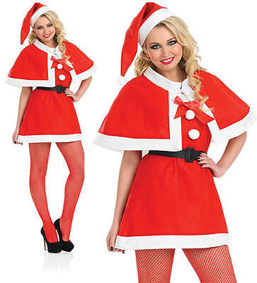 Ladies Christmas Fancy Dress Costume Red Cape Sexy Mrs Claus Outfit UK - Mrs Claus Outfit Uk