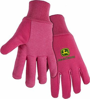 (John Deere JD00003 Cotton All Purpose Work Gloves with Dotted Palms: Pink)