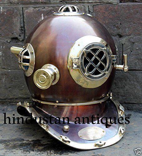 US Navy Diver Diving Helmet Antique Mark 5 Scuba Deep Sea Full Size Vintage Gift