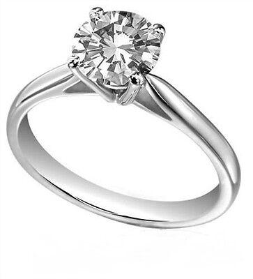 Diamond-Unique Solid Silver Rhodium platinum Engagement Ring 1ct 1 2 ct