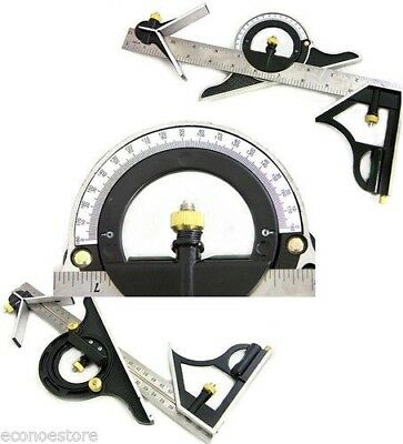 "12"" SS COMBINATION PROTRACTOR TRI-SQUARE RULER LEVEL  MULTI-PURPOSE"