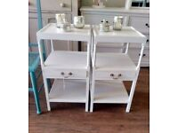 Pair of Vintage bedside tables painted in autentico milk with a clear wax