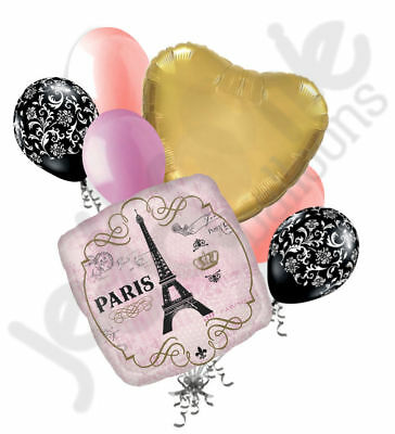 7pc Shabby Chic Day in Paris Balloon Bouquet Decoration Party Birthday Pink Gold](Shabby Chic Party Supplies)