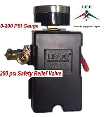 Air Compressor Pressure Control Switch 4 Port 145-175 Psi W Gauge Pop Off Valve