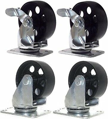 Set Of 4 All Steel - 2 Swivel Plate Casters And 2 With Brake Lock 3.5 Wheel