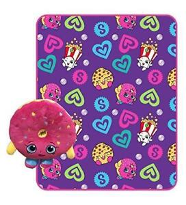 Shopkins Fleece Throw Blanket for Kids and Plush Stuffed Toy Pillow Set 40 x 50 Inch