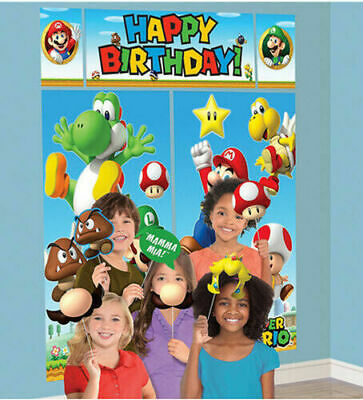 Super Mario Birthday Party Scene Setter Wall Decoration Kit Backdrop With Props - Mario Birthday Party