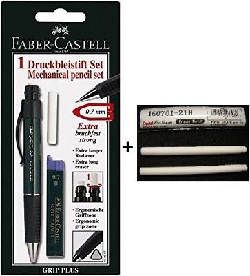 New Faber-castell Grip Plus 0.7 Green Mechanical Pencil Free Lead Eraser Set