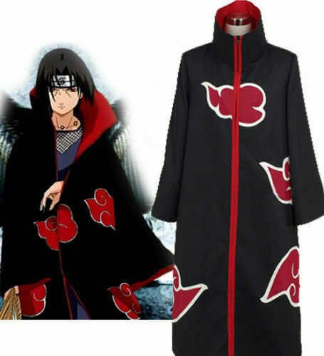 Naruto Akatsuki Uchiha Itachi Costume Robe Cloak Coat Cosplay Size: 5