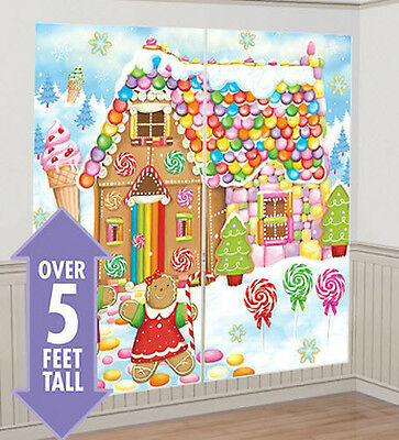 - GINGERBREAD HOUSE Scene Setter Christmas party wall decor kit 5' candy sweets
